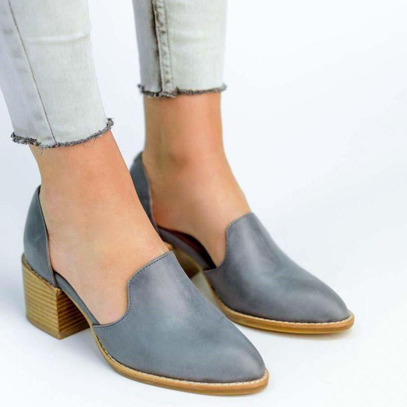 0e1cba8a6702 Women Spring Chunky Heel Casual Loafers Slip On Shoes – shecici ...