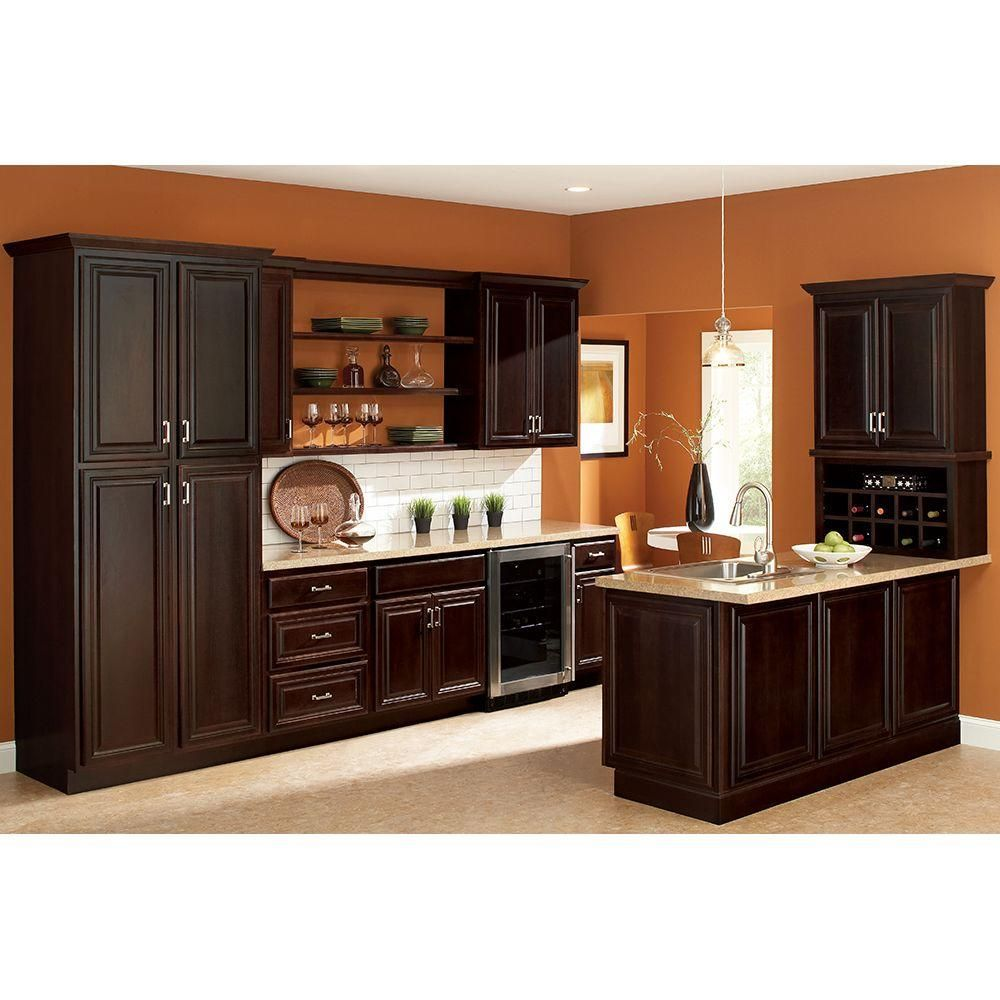 hampton bay 18x84x24 in cambria pantry cabinet in java kp1884 cjm the home depot kitchen on kitchen cabinets java id=99685