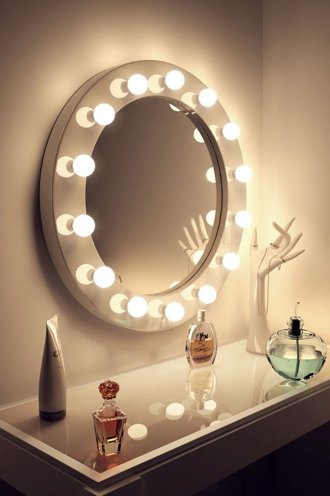 High Gloss White Round Hollywood Makeup Mirror With