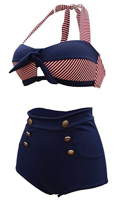 tailloday vintage bikini retro femme 2 pieces maillot de. Black Bedroom Furniture Sets. Home Design Ideas
