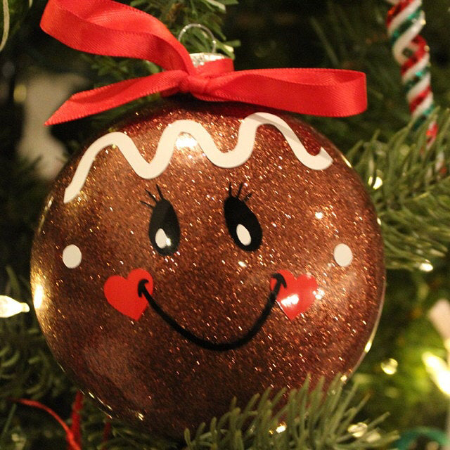Gingerbread Face disc ornament SVG and DXF Diy christmas