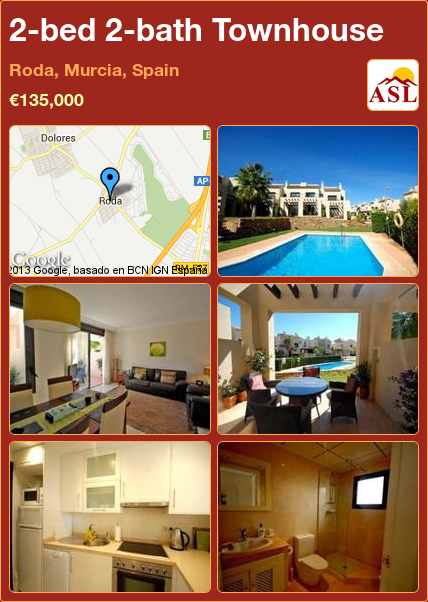 2-bed 2-bath Townhouse in Roda, Murcia, Spain ►€135,000 #PropertyForSaleInSpain
