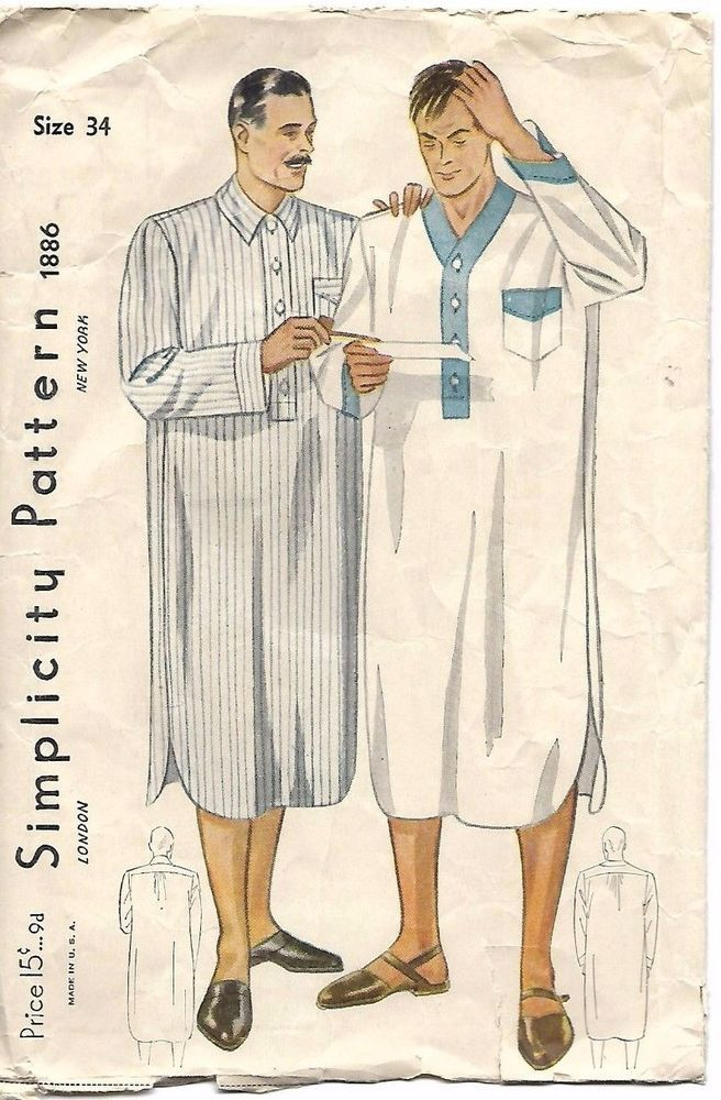 Vintage 1930's Sewing Pattern Simplicity 1886 Man's Night