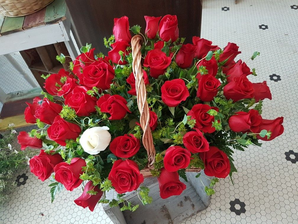 One White Rose And 53 Red Symbolizing 54th Wedding Anniversary 3