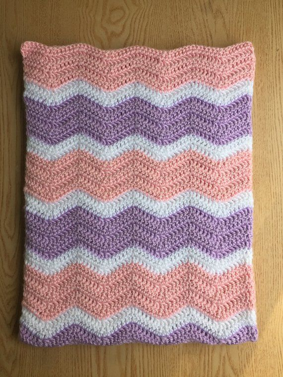 Pink and Purple Crochet Baby Blanket  Chevron Baby Girl Blanket  Ripple Baby  Blanket Pink and Purple 7060a2d48254