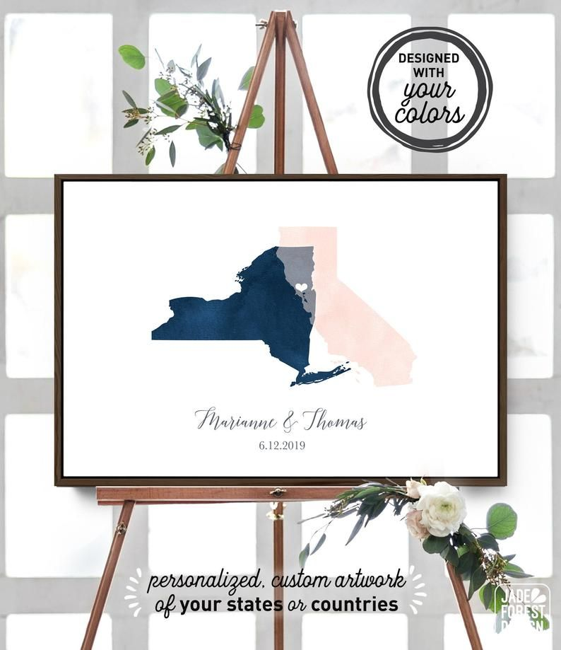 Wedding Guest Book Alternative Navy Blush Watercolor Guest