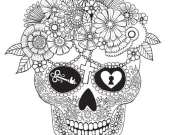 skull colouring page colour with me by