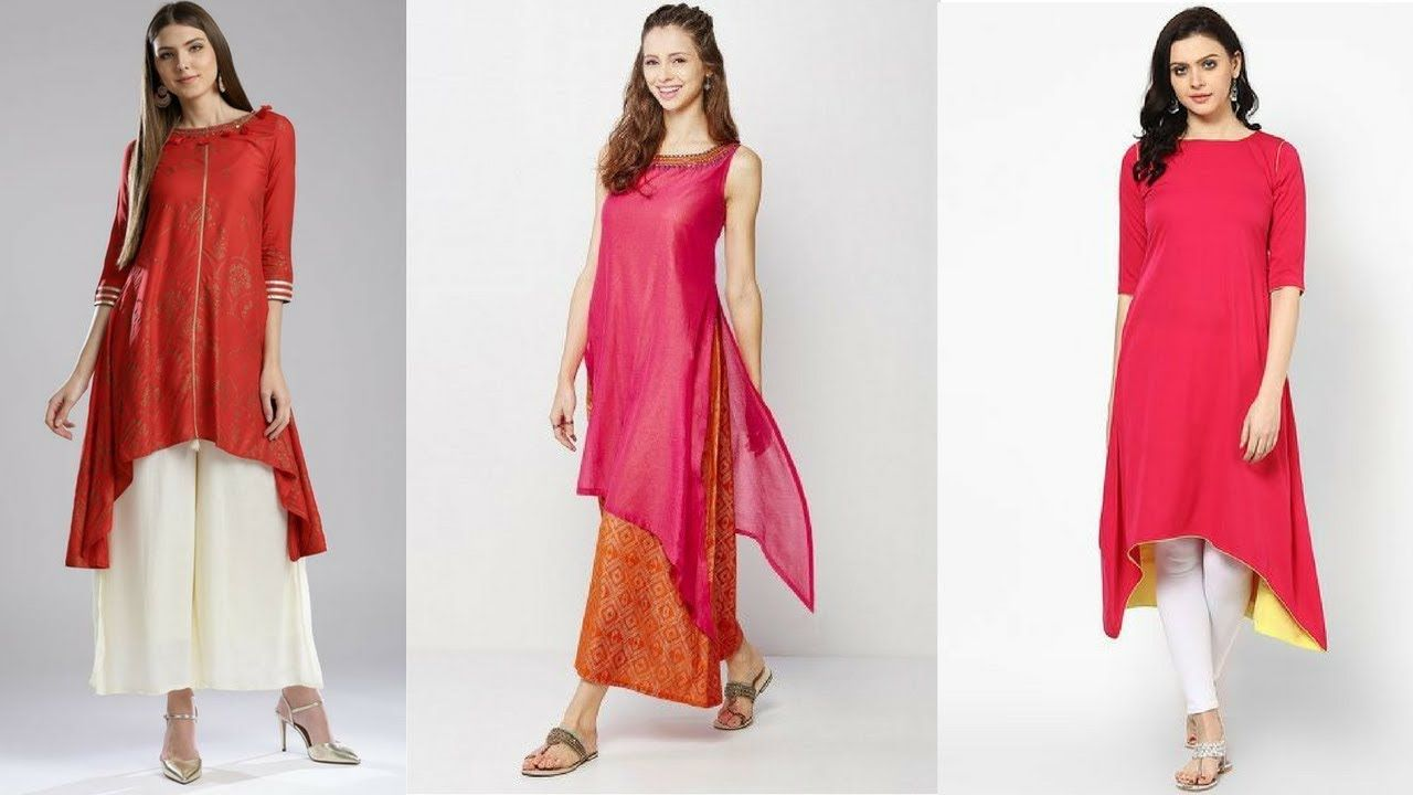 Top Asymmetrical Kurti Designs To Pair With Palazzo Pants Leggings Indian Fashion Trends Indian Fashion Kurti Designs