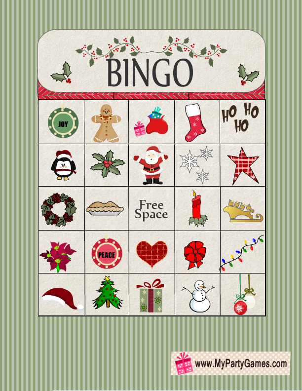 photo relating to Free Printable Christmas Bingo Cards for Large Groups titled Free of charge Printable Xmas Bingo Recreation Card 13 Absolutely free Xmas