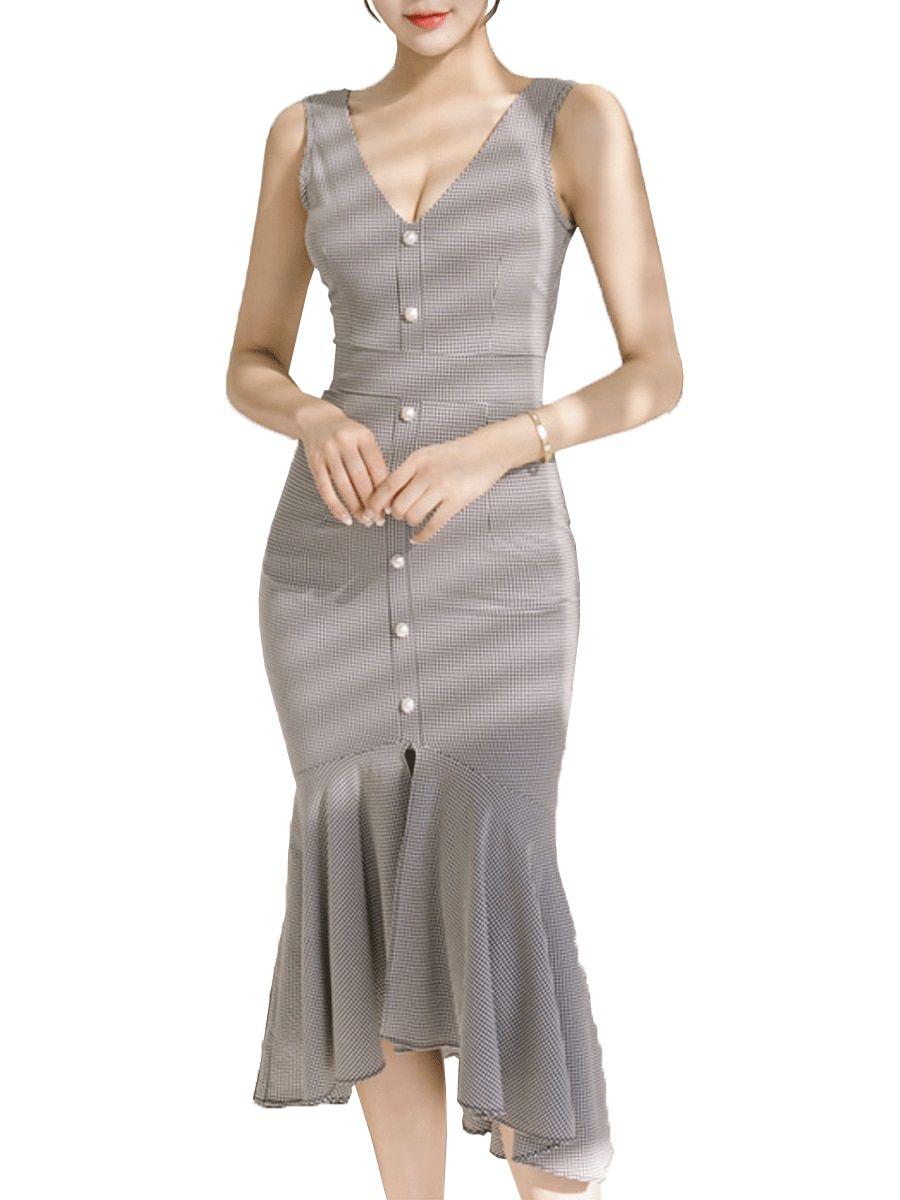 073eea3161 Buy Women s Dress Plaid V Neck Sleeveless Button Decor Slim Mermaid Dress    Regular Dresses -