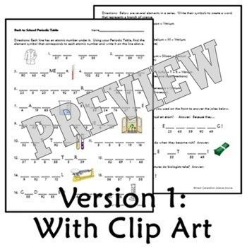 Periodic Table Worksheet First Day of School Science Back
