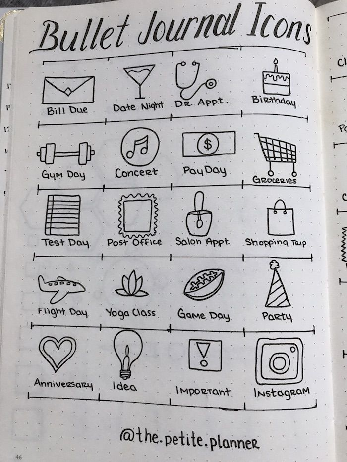 46 Icons for Your Bullet Journal - The Petite Planner #planningyourday