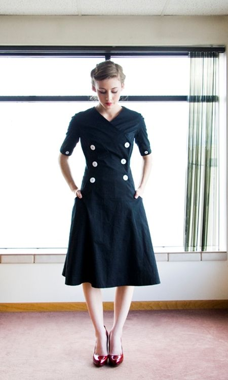 black dress with buttons. ADORABLE.