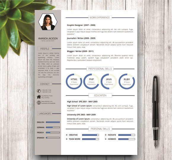 Resume Template for MS Word by wordresume on @mywpthemes_xyz Best