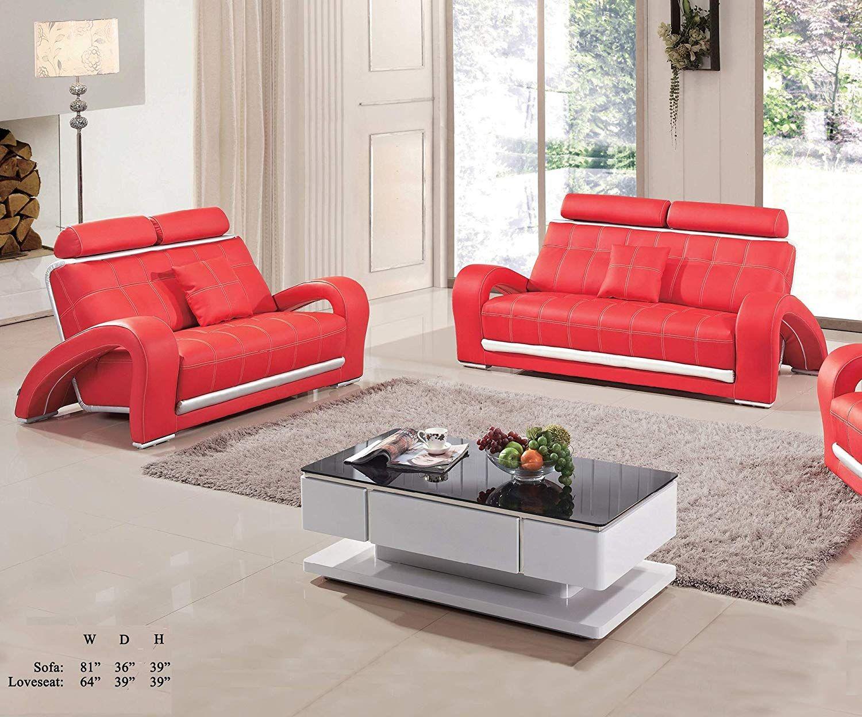 Esofastore Living Room Furniture Red Silver Bonded Leather Sofa And Loveseat Adjustable Headrest Unique Arms 2pc S Leather Sofa And Loveseat Furniture Sofa Set