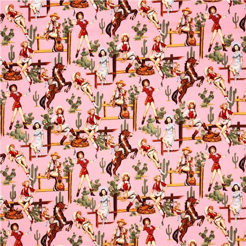 pink From The Hip Cowboy Pin up fabric Alexander Henry 3