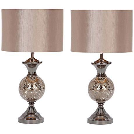 Hettie Silver Mosaic Glass Orb Metal Table Lamp Set Of 2