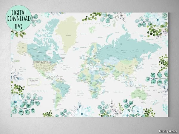 Custom quote - Printable floral and greenery world map with cities ...