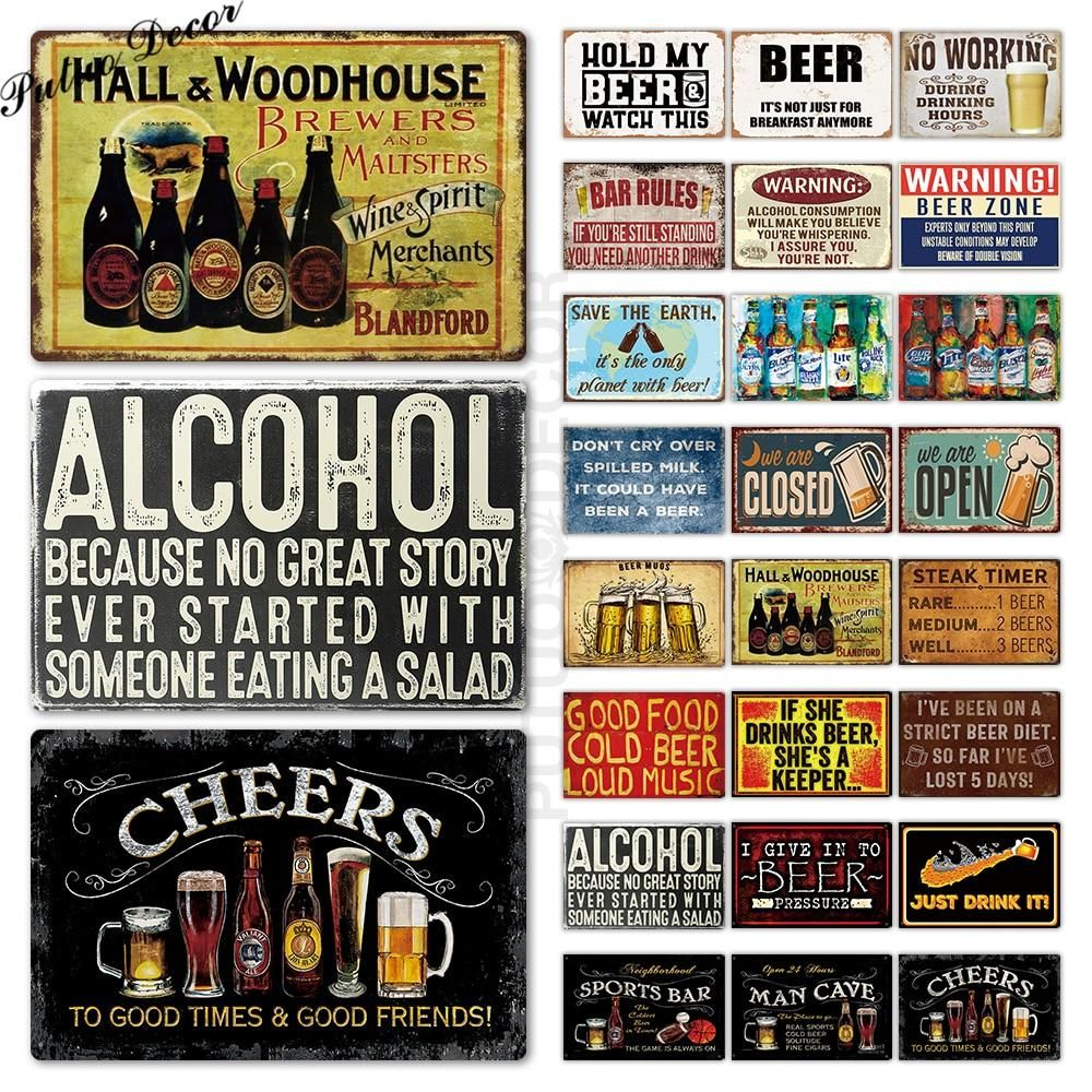 Beer Metal Sign Vintage Pub Sign Wall Decor Bar Tin Signs Wall