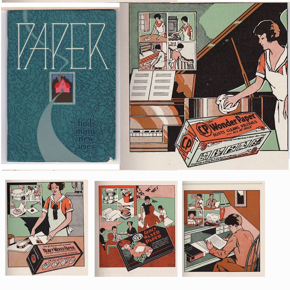 Paper Finds Many Uses In The Home 1931 Lithographs Barnes Kvp Paper Kalmazoo Mi Advertising Collectibles Lithograph Beautiful Needlework