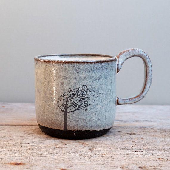 Blue Windy Tree Mug by JuliaSmithCeramics on Etsy