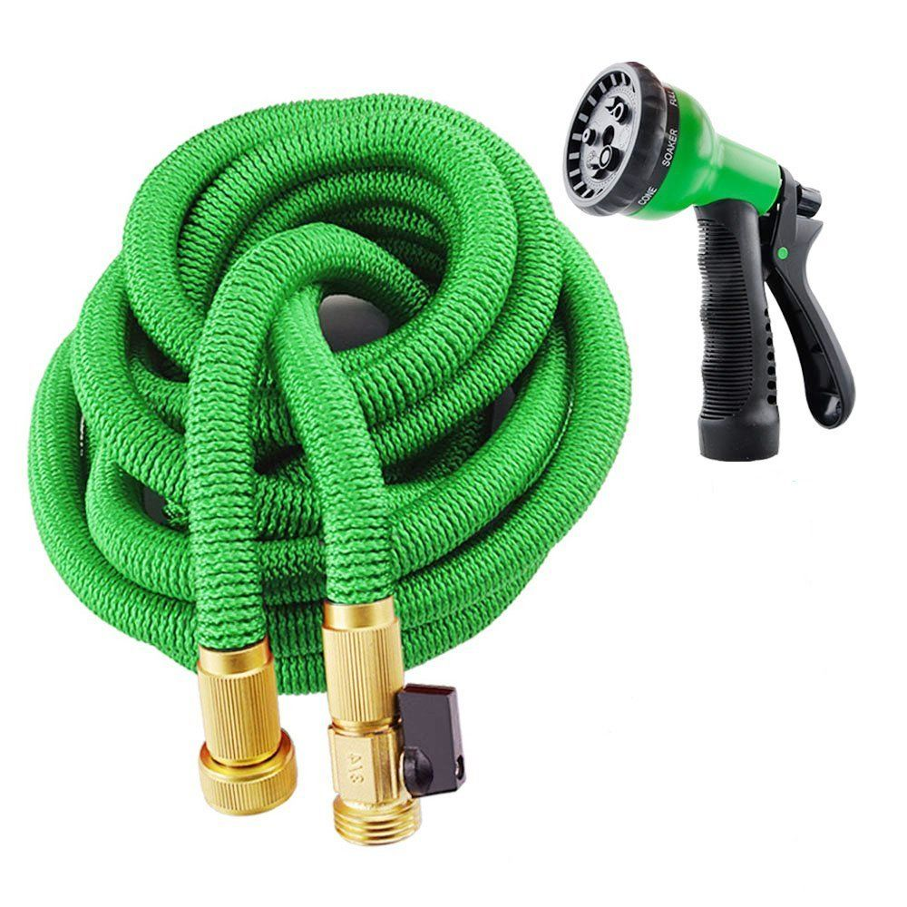 Amazon Com Garden Hose 100 Feet Expandable Hose With All Brass Connectors 8 Pattern Spray And High Pressure Expanding Garden H Garden Hose Hose Hose Nozzle