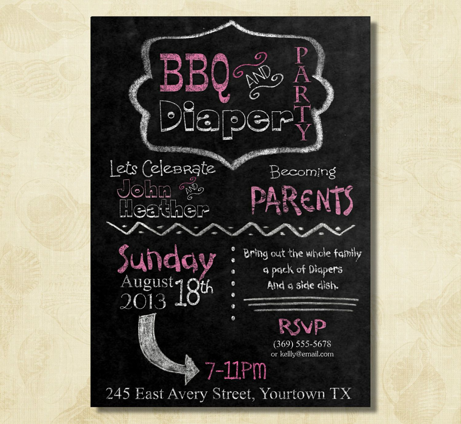 baby shower invitation wording for bringing diapers%0A BBQ and diaper man couple dad baby shower by WinterVallie on Etsy