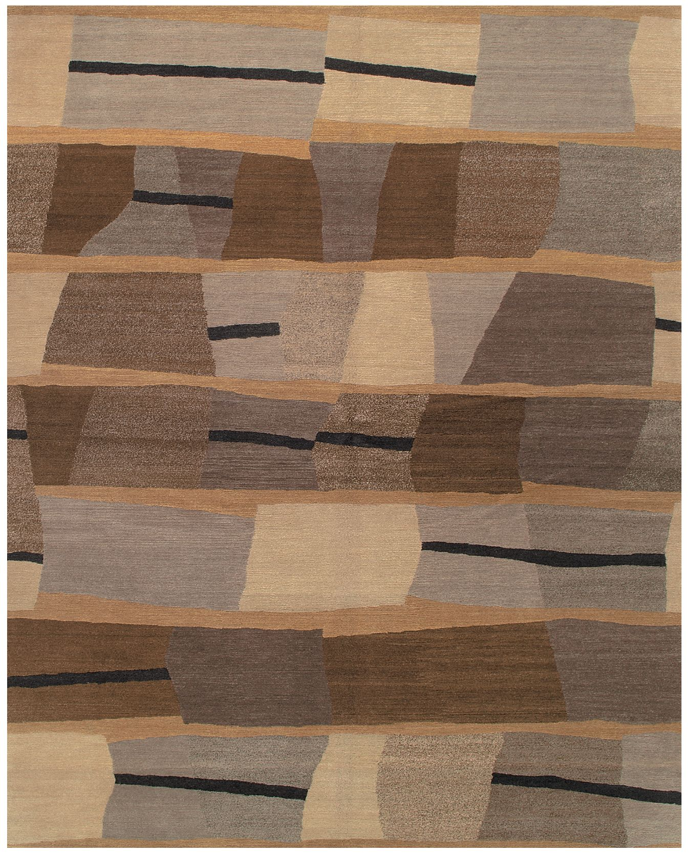 Showcasing a timeless geometric design, the Taba Blackstone contemporary Oriental carpet is hand knotted from silk and wool. Part of the Shakti collection from Tufenkian Rugs, this impressive piece is sure to turn heads. http://www.cyrusrugs.com/tufenkian-rugs-vicente-wolf-item-12387&category_id=1619&ivp=1