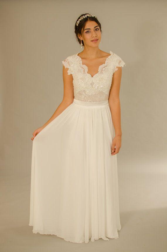 Vintage wedding dress Transparent Lace Top by LanaWeddingDesign ...