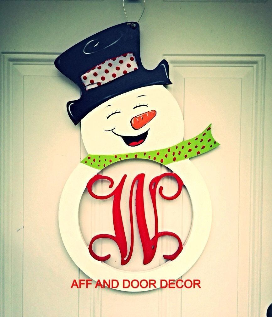 Winter Front Door Decor Snowman Silhouette Holiday Wall Hanging Letter Initial S