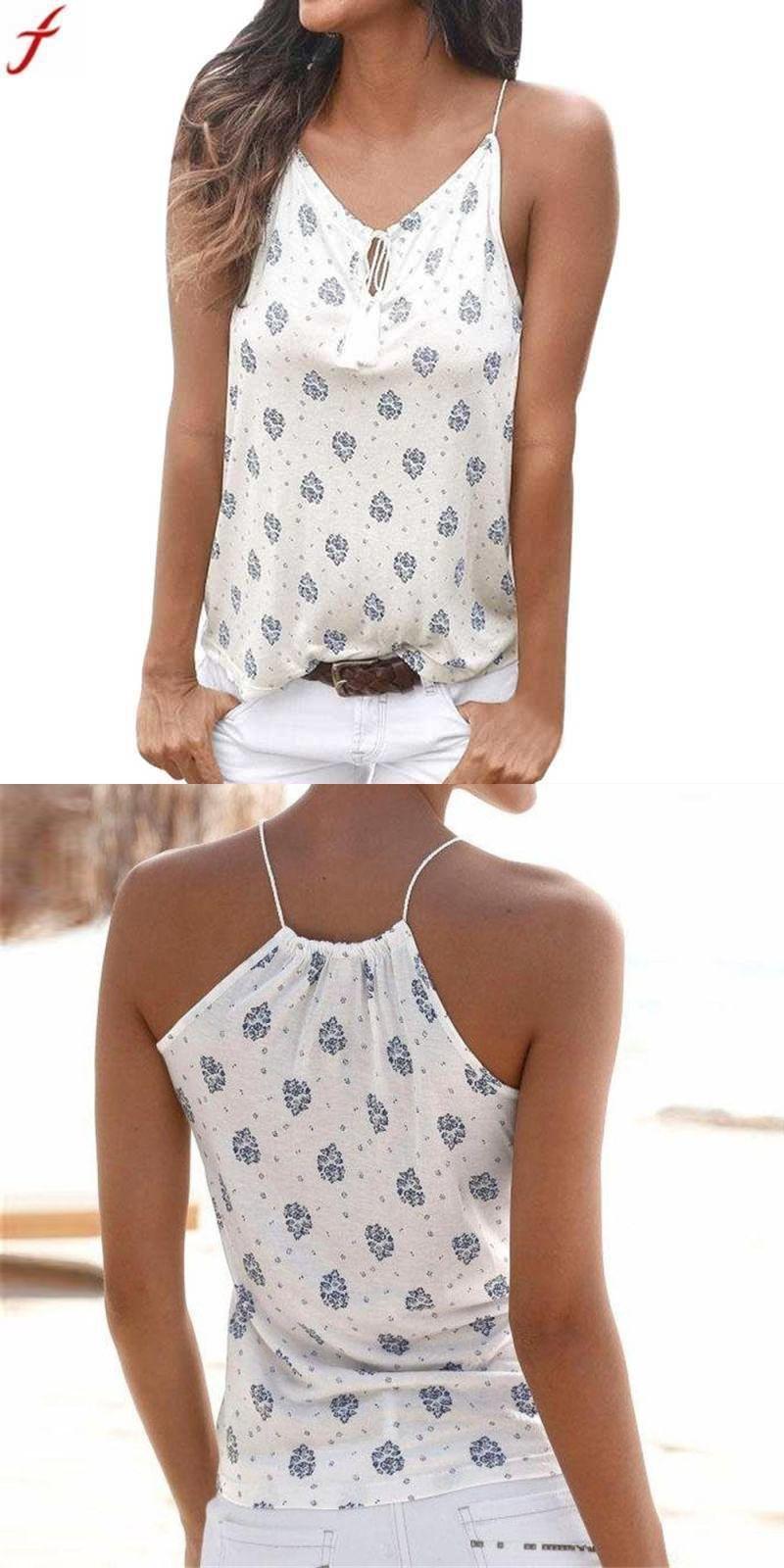 e3d4cdbd3e5cb Women tops summer 2018 women flower print sleeveless blusas sexy vest shirt  tank tops blouse t
