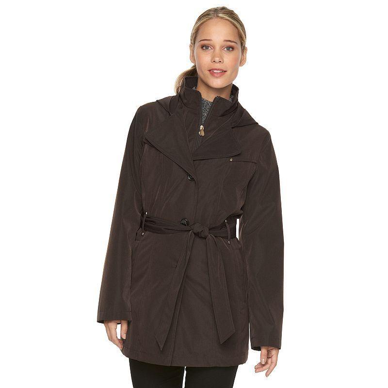 Women's Croft & Barrow® Hooded Rain Coat, Size: Medium, Brown Over
