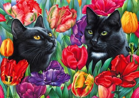 Amongst The Tulips Cats Kittens Art Tulips Friends Flowers Summer Garden Spring Colorful Lovely Pretty Black Cat Art Cat Art Cat Painting