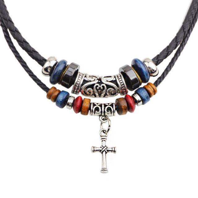 ceecbf9c3 ER 2016 New Arrivals pánské kožené náhrdelník vícevrstvý Lanové korálky  neckless Muž Cross Nacklace Levné módní šperky LN064