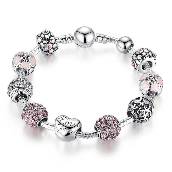 Bangle with Love and Flower Silver charm bracelet