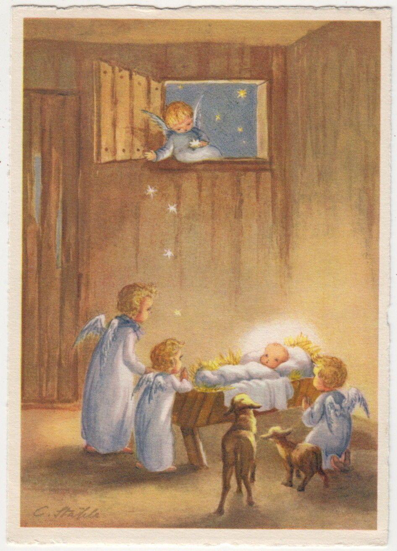 051 Angels Look At Baby Jesus In Crib Angel Throws Stars Ebay Vintage Christmas Images Christmas Illustration Christmas Ephemera