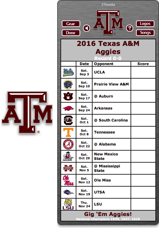 Get your 2016 Texas A&M Aggies Football Schedule App for