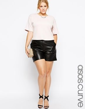 18499005e4a75 ASOS CURVE Exclusive Shorts In Leather Look
