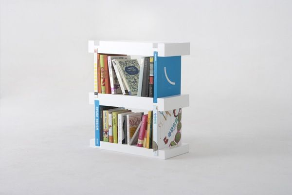 Creative, Minimalist Bookshelf Uses The Books On It In Its Construction