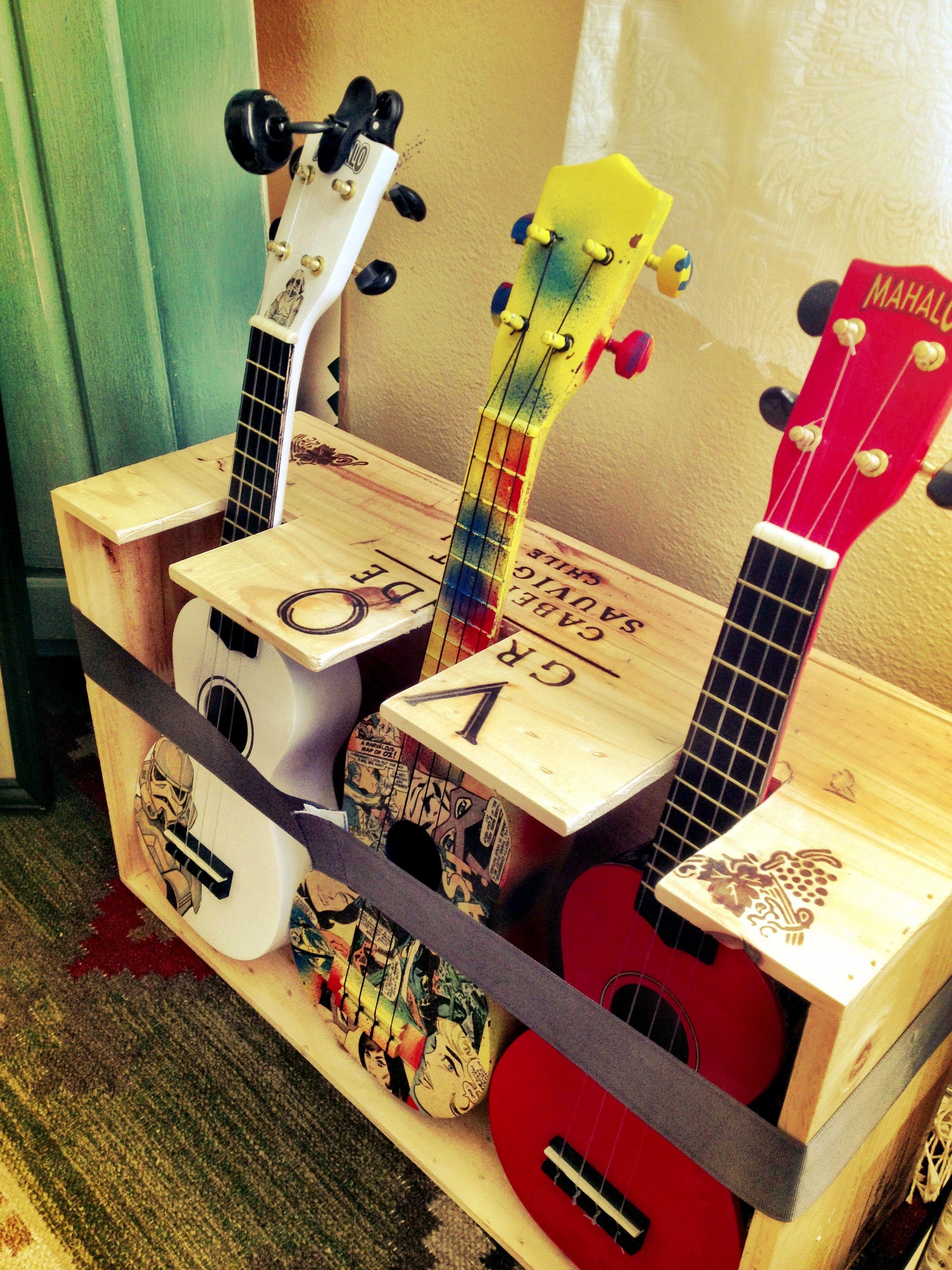 i found a new use for a wine box my new ukulele stand ukulele pinterest ukulele stand. Black Bedroom Furniture Sets. Home Design Ideas