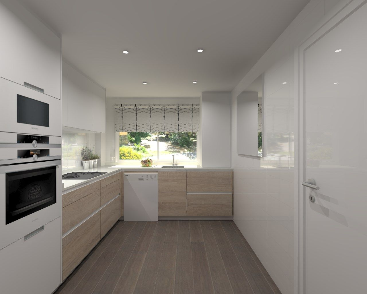 Cocina santos modelo line estratificado roble y blanco con - Cocinas color roble ...