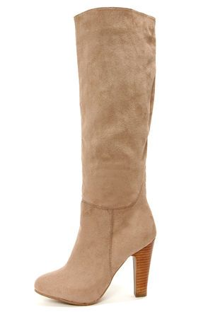 f1ab1df0af5 Dollhouse Embrace Taupe Suede Knee High Heel Boots at LuLus.com!  56 wayyyy  too cute!