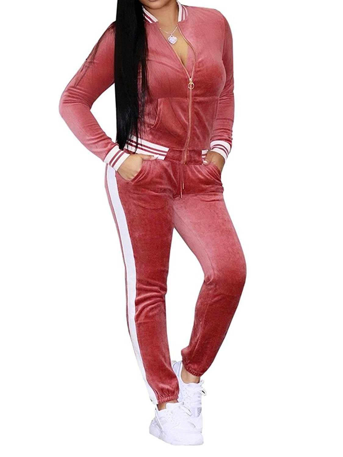 Womens Velvet Jumpsuits Two Piece Long Sleeve Zip Up Jacket+Bodycon Long  Pants Tracksuit Sweatsuit -   Tracksuit women, Active wear for women,  Tracksuit outfit