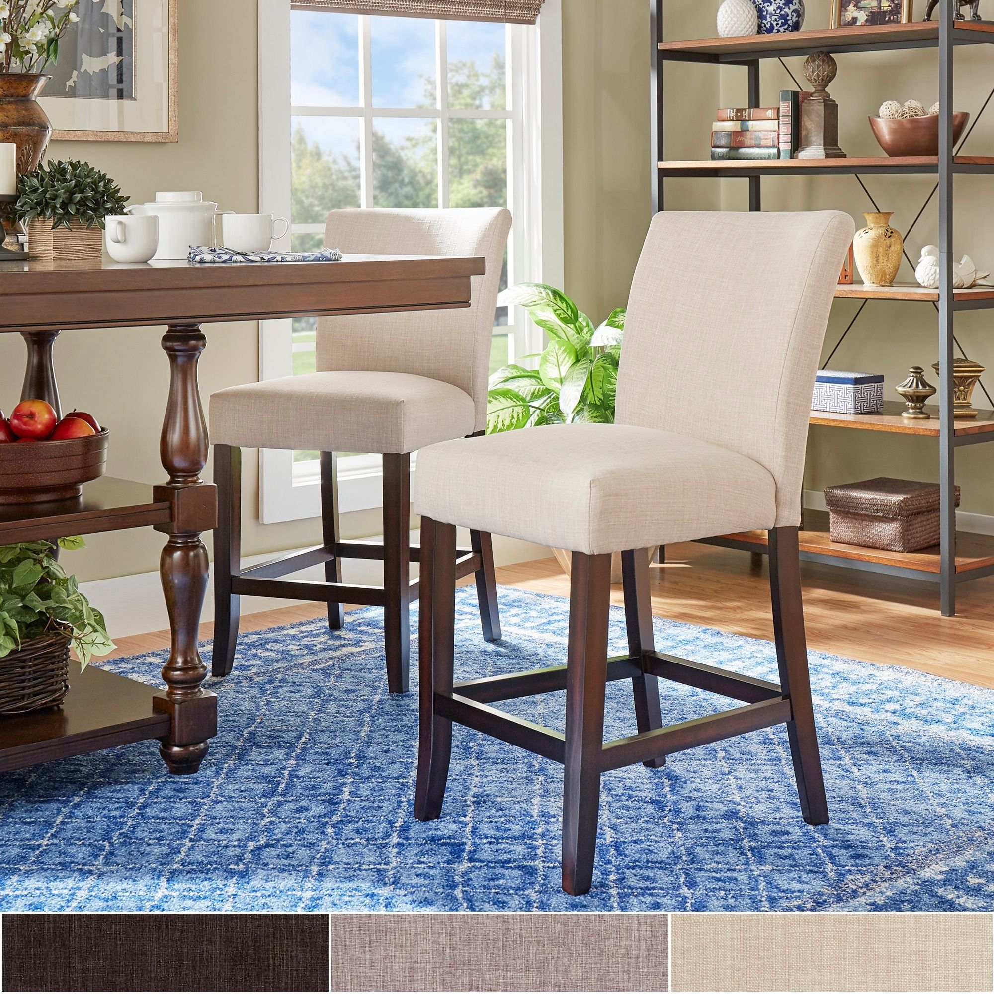 Parson Classic Linen Counter Height High Back Stools Set Of 2 By