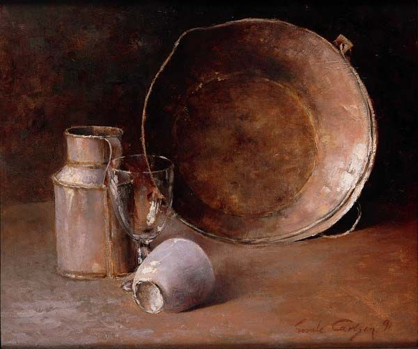 """Still Life, Emil Carlsen, 1891, oil on canvas, 18 x 21 3/4"""", private collection."""