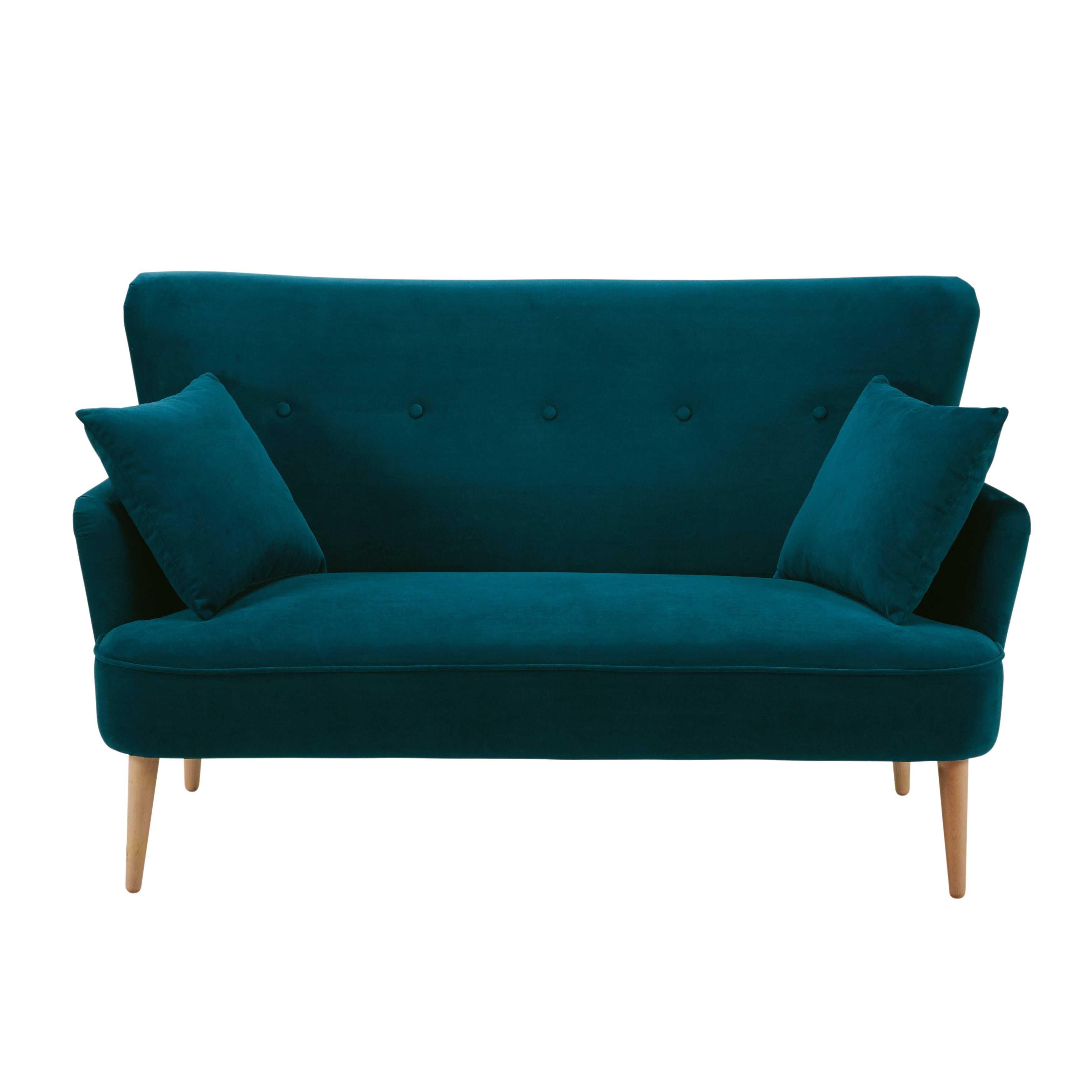 canapé 2 places en velours bleu pétrole leon | veranda | pinterest