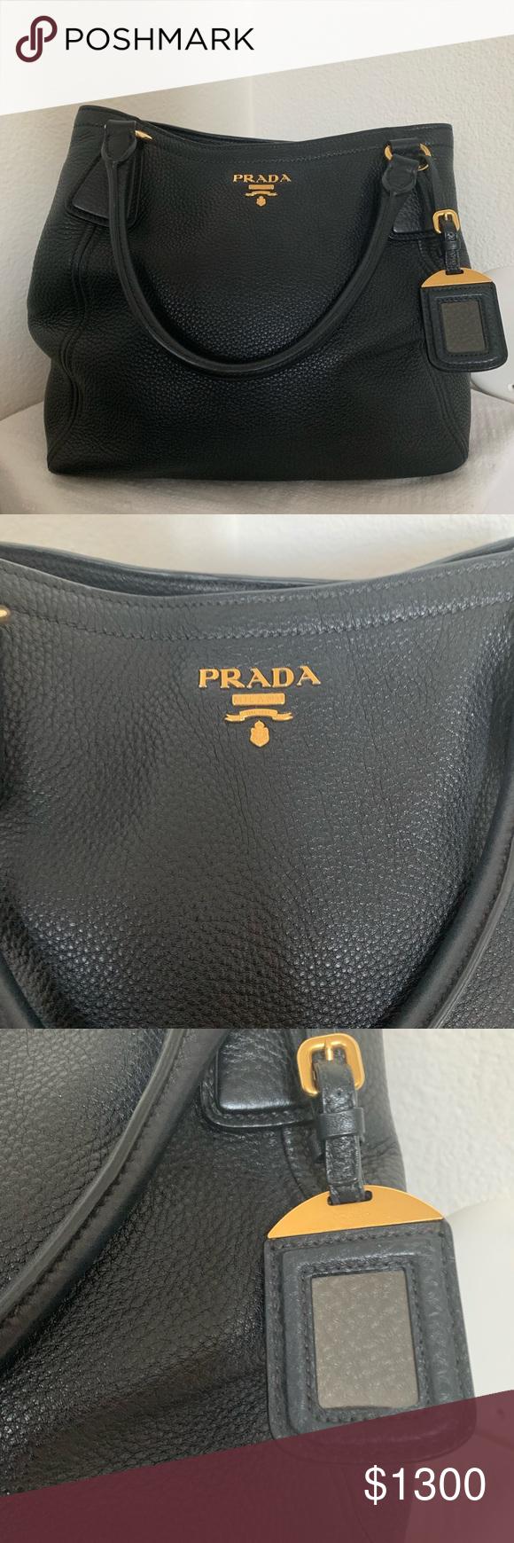 Photo of Prada Nappa Leather Black Handbag Purse Beautiful Prada handbag in pebbled leath…