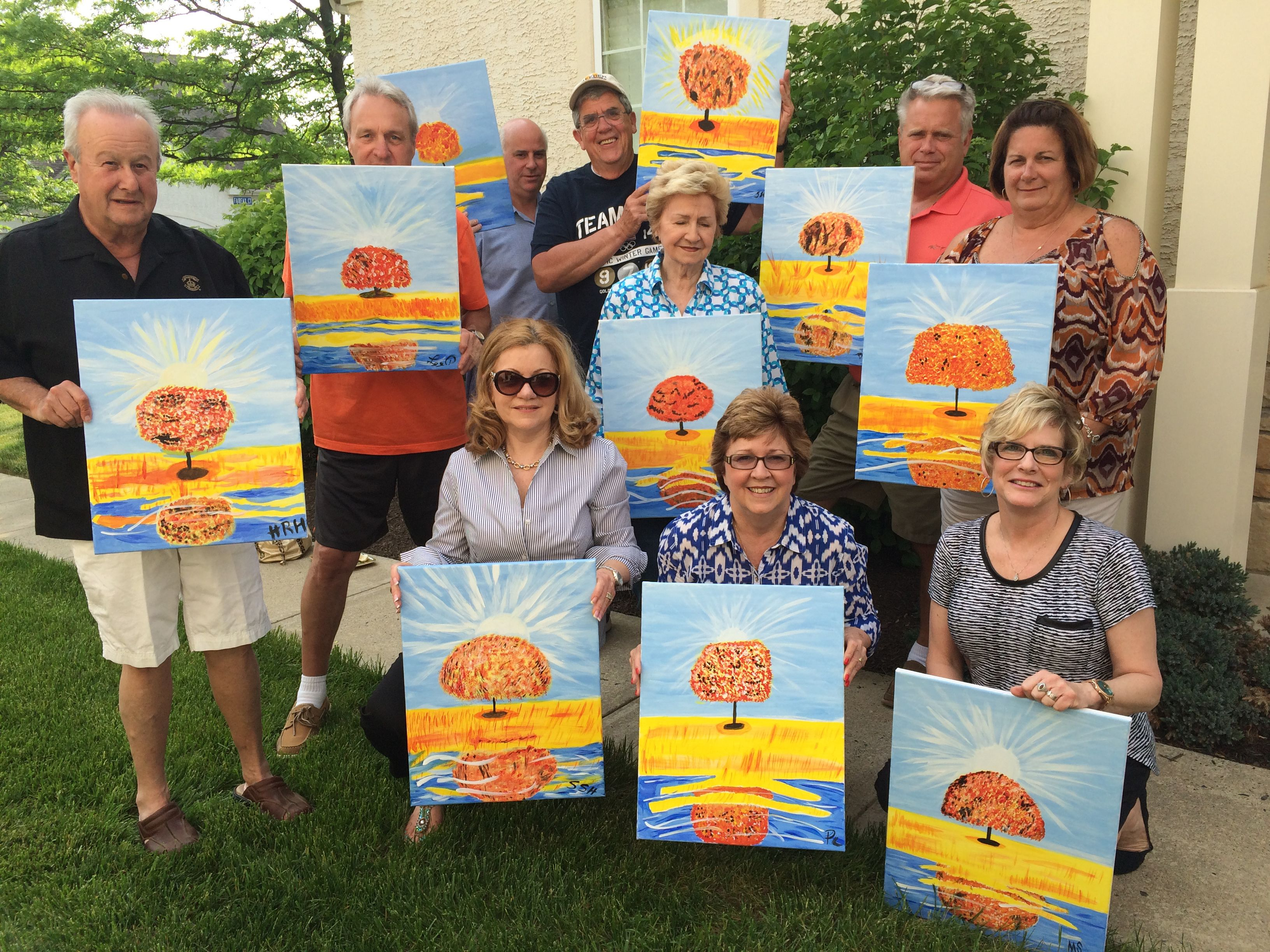 What a FUN way to spend a Sunday afternoon! John Creeden and friends decided to spend their day off enjoying good food, lots of wine and relax, creating beautiful masterpieces at home! They were such a fun group, and John's going to do it again at his place this summer. That's what makes unWINED & PAINT so unique, WE come to YOU!