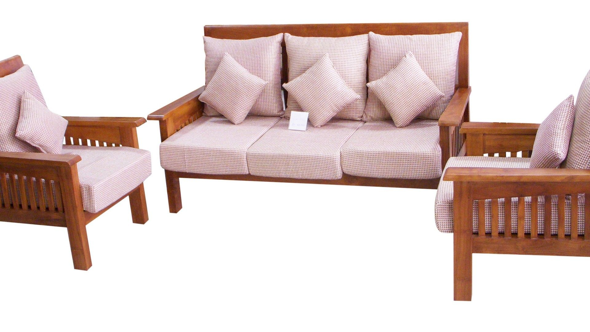 Charming Wooden Sofa Set With White Modern Cushion Seats In