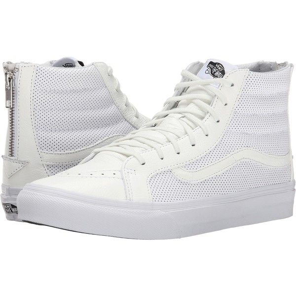 Vans SK8-Hi Slim Zip ((Perf Leather) True White) Skate Shoes ( 56) ❤ liked  on Polyvore featuring shoes b929456a4